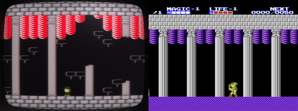 Side-by-side screenshots of Super Win the Game and Zelda II