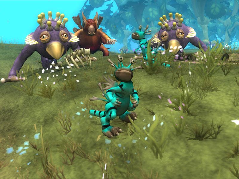 Several strange creatures in Spore