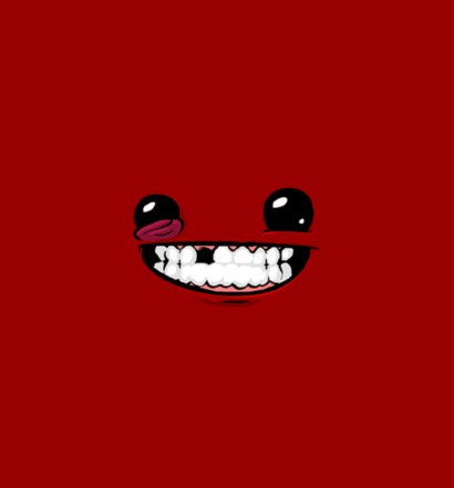 Super Meat Boy's smiling face