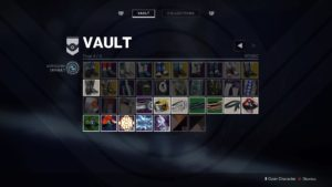 A Vault menu cluttered with equipment