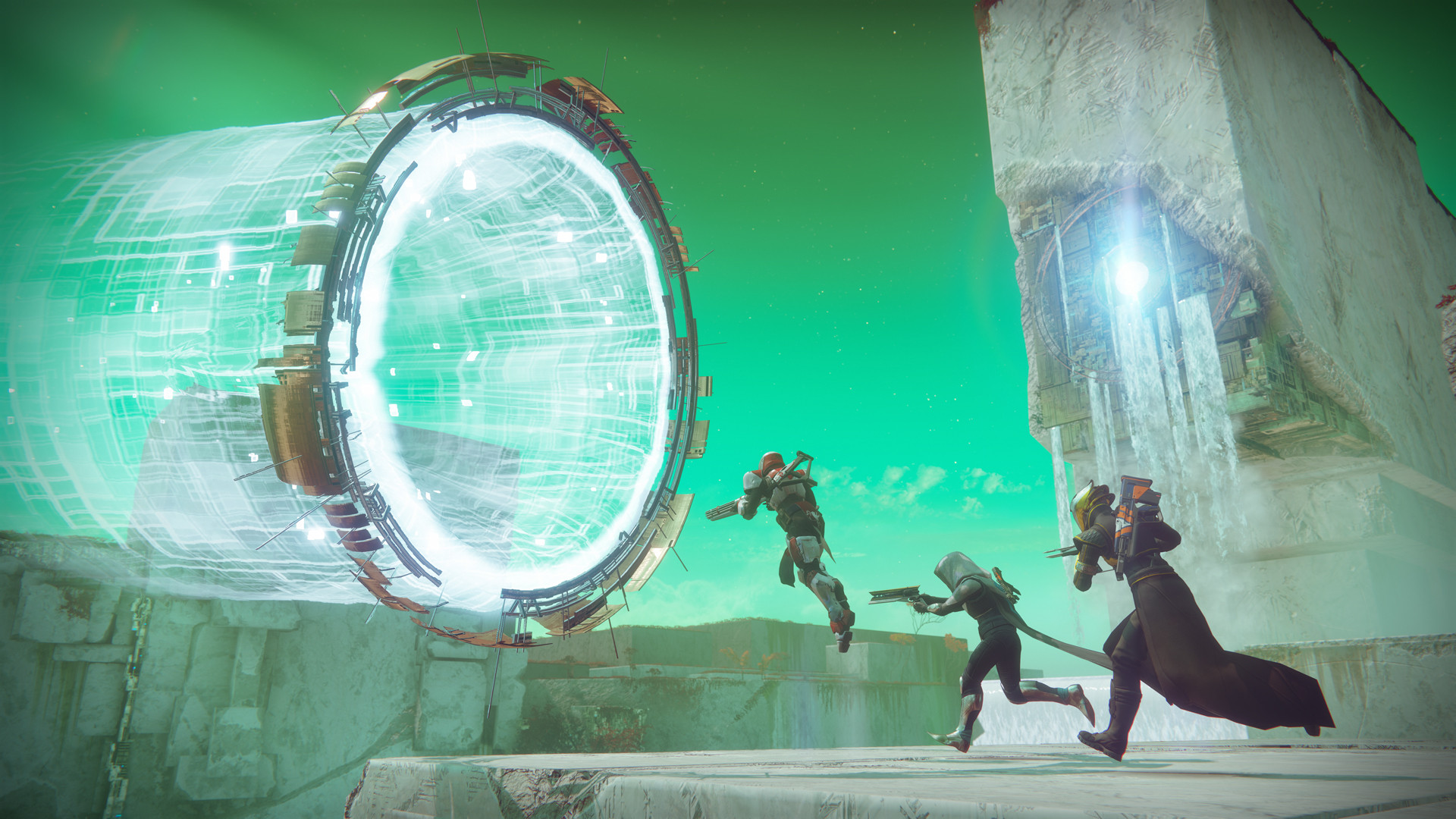 Three Guardians jumping through a portal on Nessus
